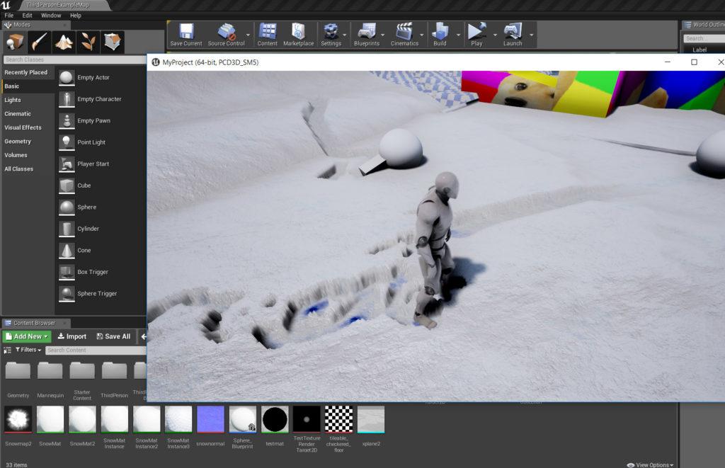 Deforming Unreal4 Snow System
